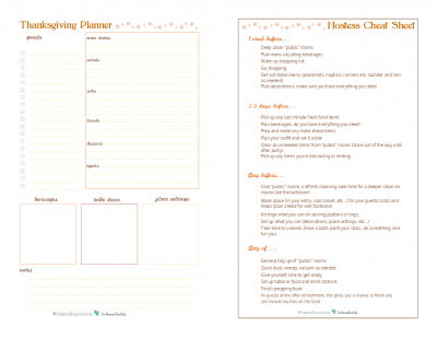 I paired up my Thanksgiving Planner with my Hostess Cheat Sheet for a winning combo. Keep track of everything you need to for hosting your Thanksgiving get together.