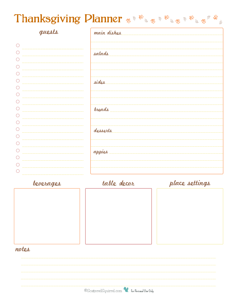 Use the Thanksgiving planner printable to help plan your Thanksgiving get together this year. Keep all your ideas in one handy place.