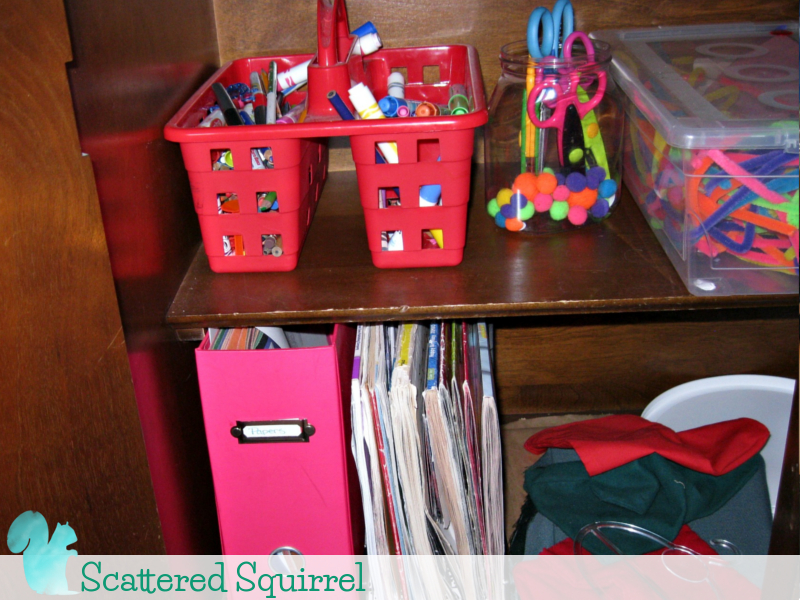 Neat and tidy craft and colouring supplies. Organized and ready to grab and go when needed.