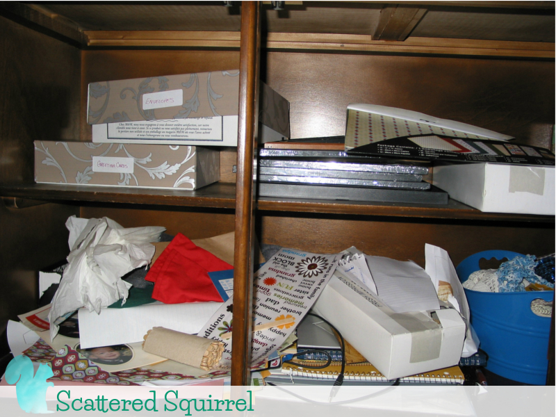 Craft and extra office supplies are just sort of jumbled together, with no real organization.