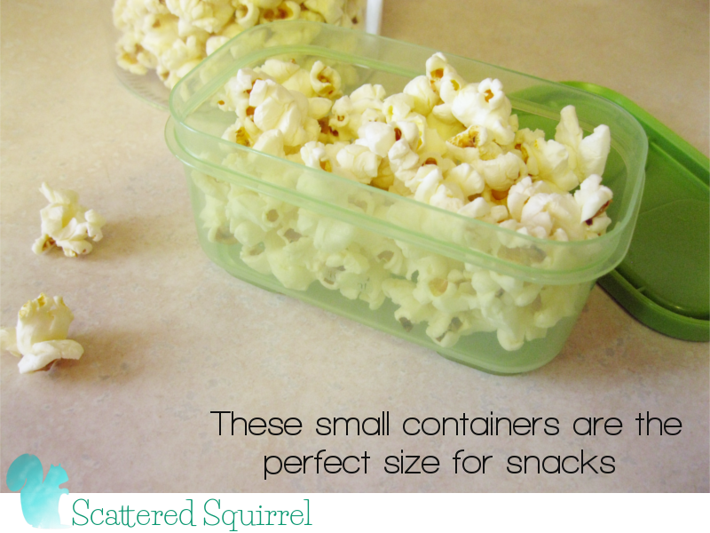 The smaller snack containers hold 3/4 cup, the perfect amount for a yummy snack.