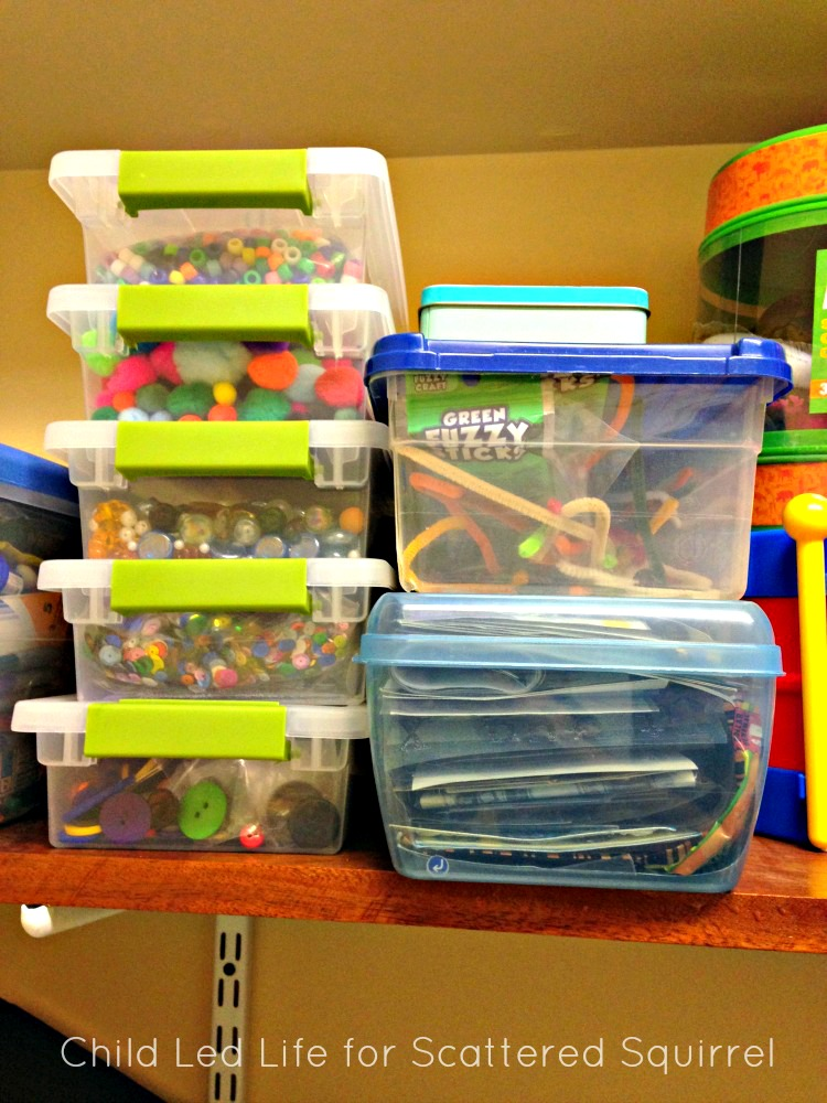 Clear plastic bins are an excellent choice to organize you homeschool supplies