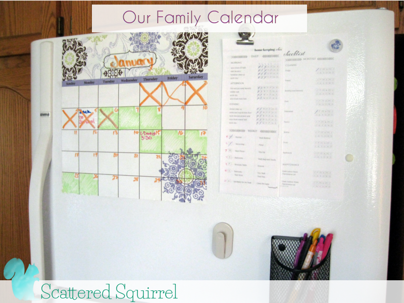 Our family calendar has been relocated to our fridge so that it is easily veiwable by everyone. I keep track of important dates and all our commitments on this calendar. Each family member has their own colour so i can see at a glance who is doing what and when.