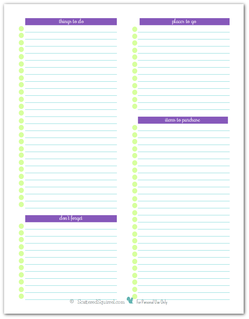 This Full-size printable page is a great way to keep track of all the things you might need to remember to do or purchase. Print out a bunch and keep in your planner or hmb, or stick on a clipboard and hang on the wall so you don't forget.