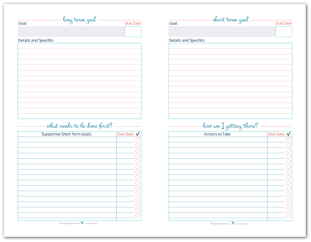 Half-Size Goal Setting Worksheet Printables to help you set, plan and track your long term and short term goals. Use them together or separately.