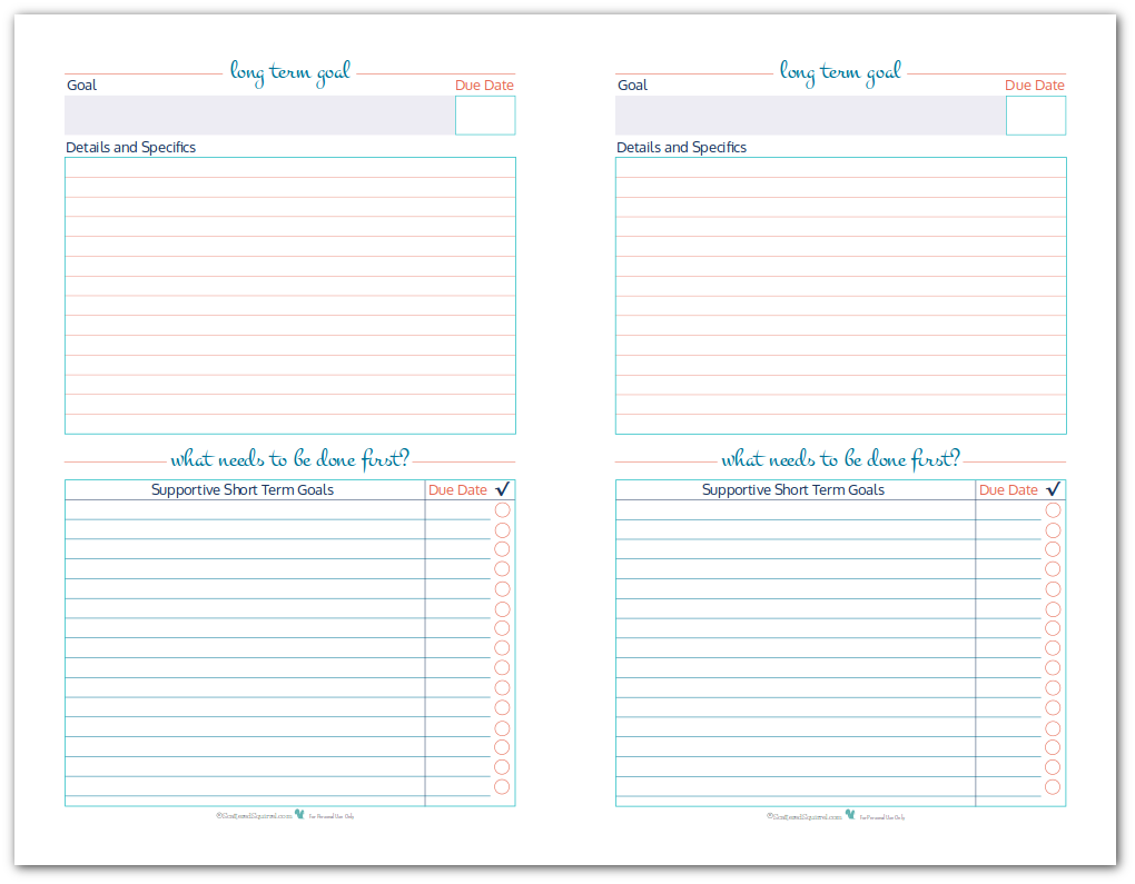 Half-Size Long Term Goal Setting Worksheet Printables to help you set, plan and track your long term term goals.
