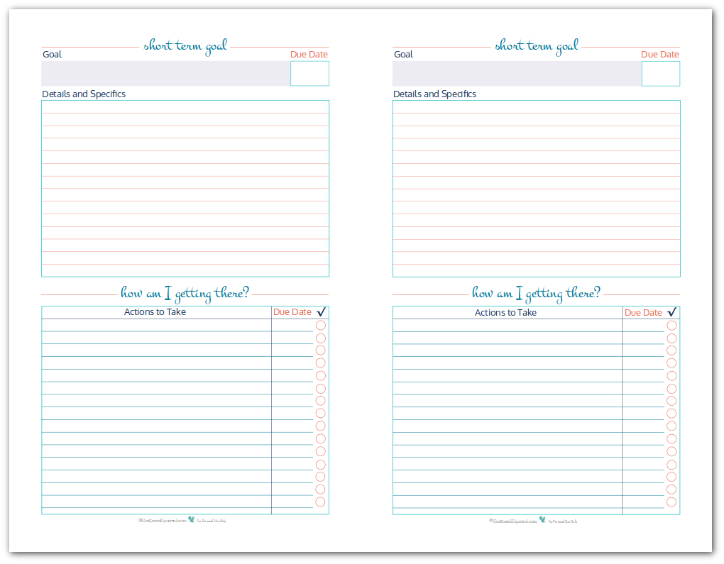 Half Size Short Term Goal Setting Worksheets Scattered Squirrel