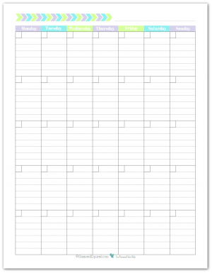 Blank monthly calendar printable with the weeks starting on Monday. In a portrait layout with lined boxes.