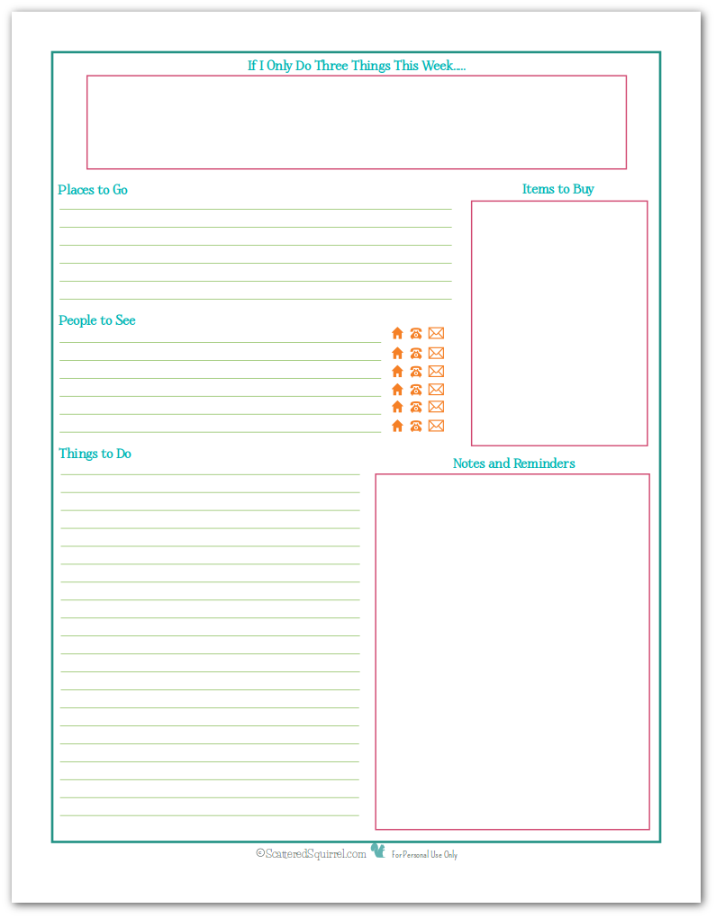 Weekly Calendar List : New planner printables reader request