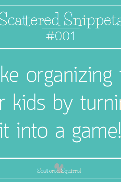 Organizing isn't always fun, especially if you're a kid. But you can make anything fun if you turn it into a game!