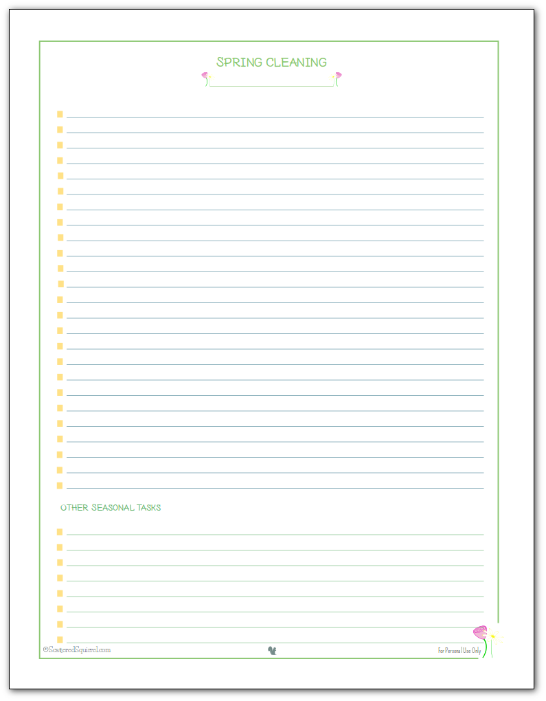 Jot down spring cleaning tasks on this handy spring cleaning checklist. Assign one room per page, or use one pages per day, whichever works for you.
