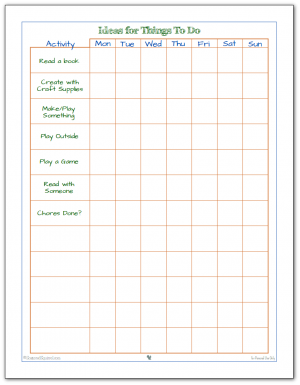 Help your kiddos manage their time and interests with this handy, just for kids, to-do list printable.
