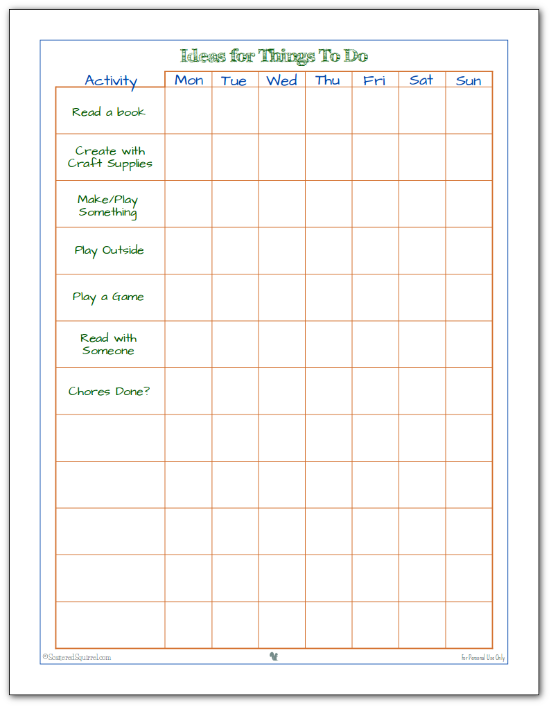 keeping the kids busy kid friendly to do lists help your kiddos manage their time and interests this handy just for kids