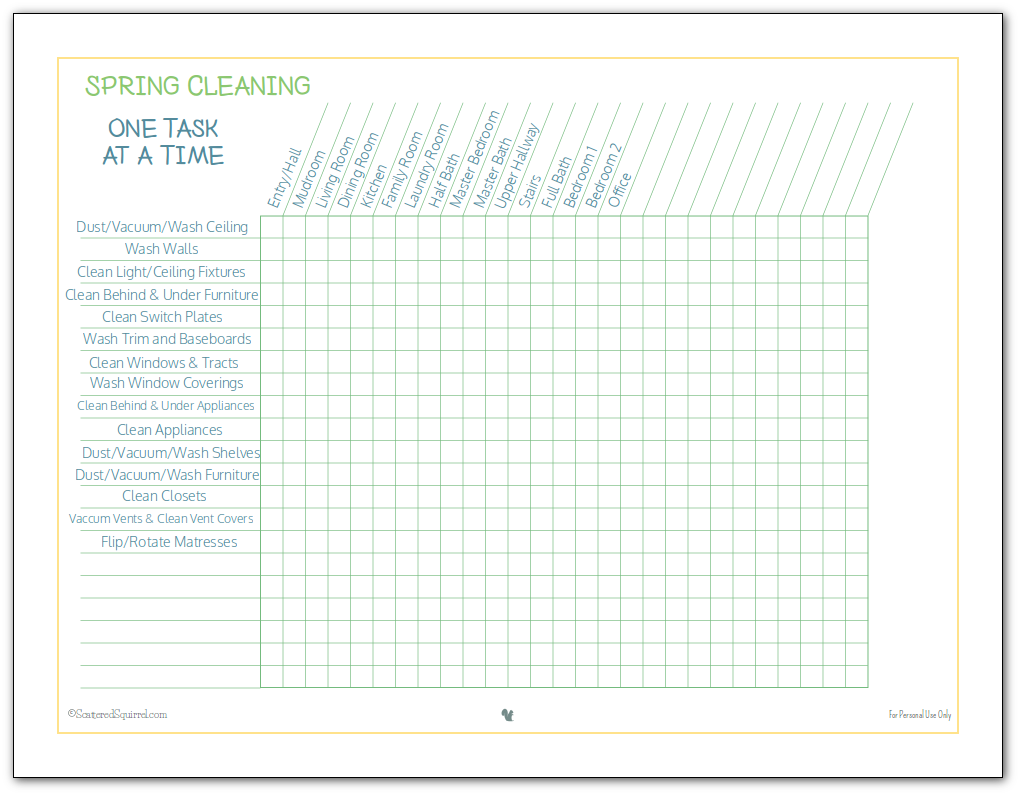 Fit in spring cleaning when you can. Use this spring cleaning checklist to keep track of what tasks have been done in which rooms, so you don't have to worry about repeating your efforts.
