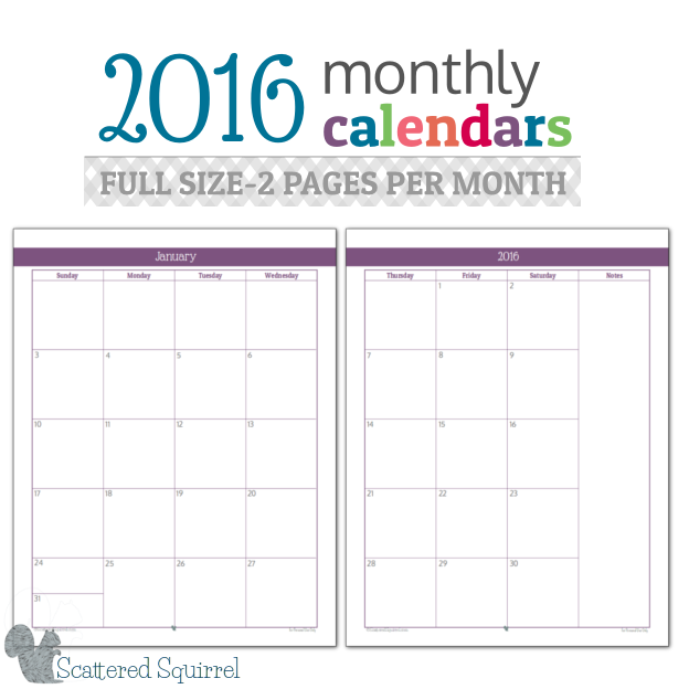 2016 Monthly Calendar- This full size monthly calender features one spread out over two pages for more writing room.