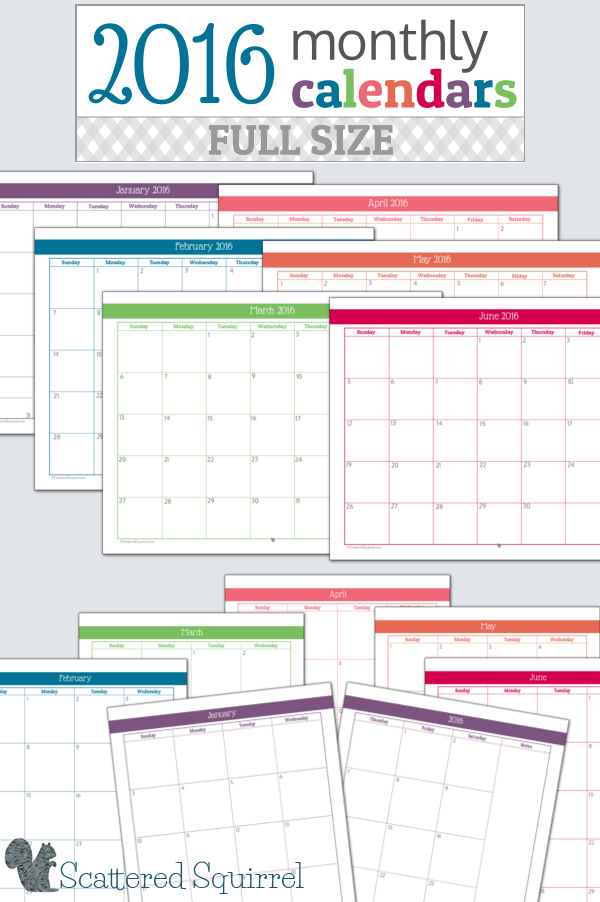 Free Monthly Calendar 2016 Printable Large | Calendar Template 2016