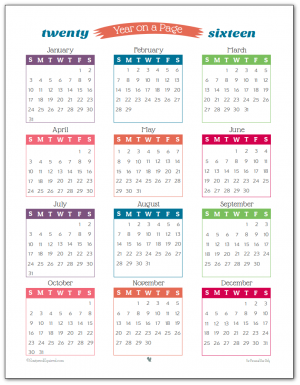 2016 Year on a Page printable calendar - perfect for long term planning, highlighting special dates and planning vacation time.
