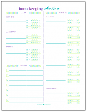 Here's our home keeping checklist printable in a blank version so that you can tailor the tasks to fit your needs.