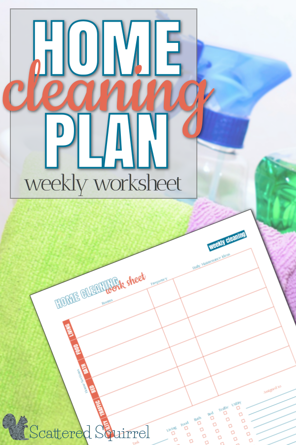 I'm working on getting our weekly home cleaning plan to make it better fit our changing life style. To help me on my way I whipped up a handy little printable worksheet.