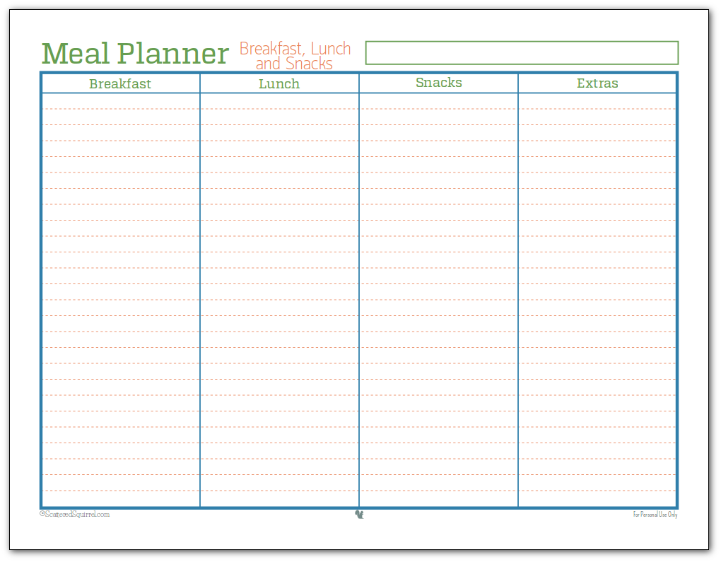 Meal Planner Printable - I use this one to plan breakfasts, lunches and snacks. This is more just for planning the grocery list than an actual meal plan.