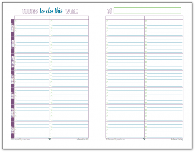 Half-size, free printable weekly to-do list. Keep track of your most important tasks, and avoid overloading your to-do list.