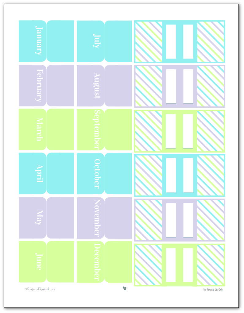 Printable Planner Accessories in the 2015 Colours- Monthly tabs and Page markers