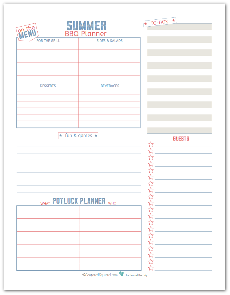 Summer BBQ planner printable in blue and pink