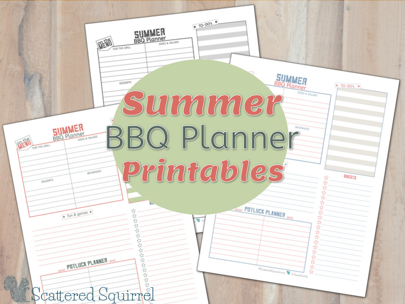 Summer is a great time to host BBQ's with family and friends. These printable party planners will help you keep track of all the little details.