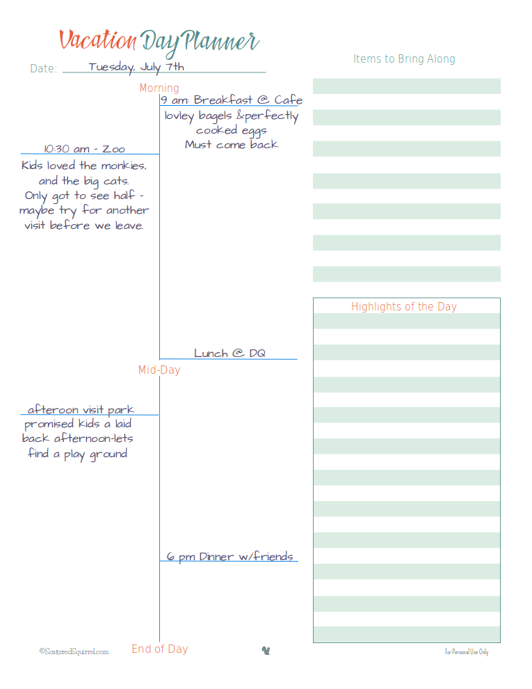 this is an example of how to use the vacation day planner printable