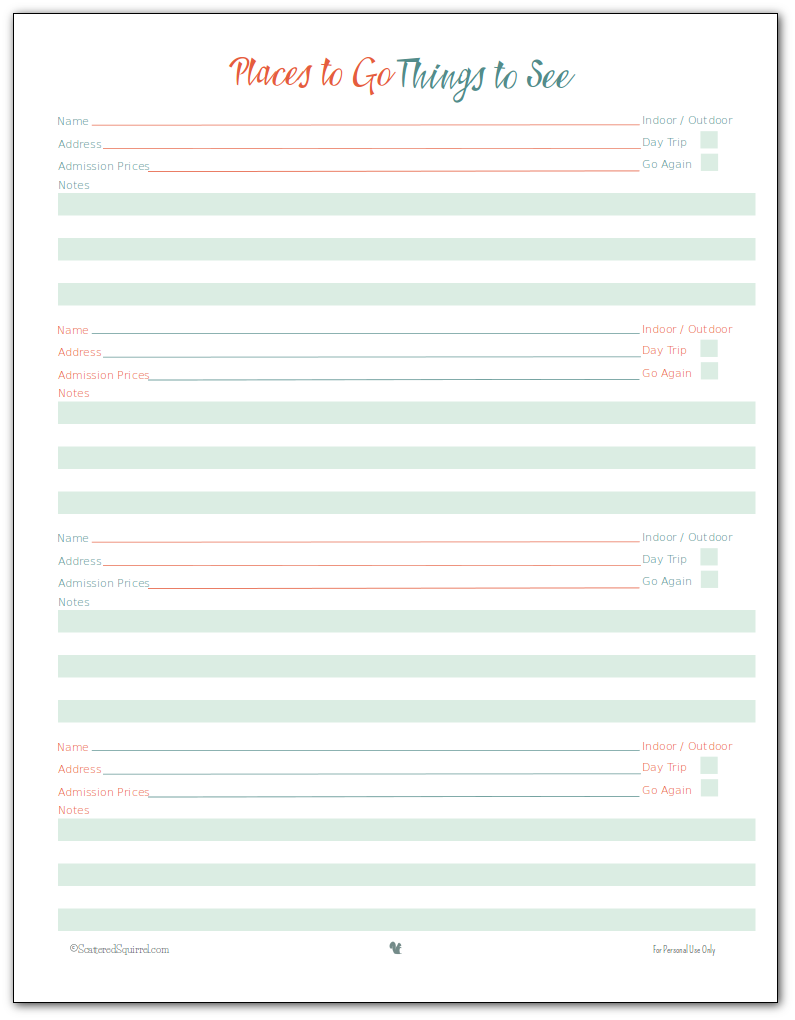vacation planner printables