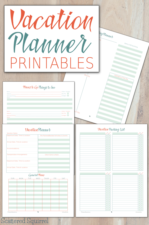 image regarding Travel Planner Printable known as Holiday vacation Planner Printables