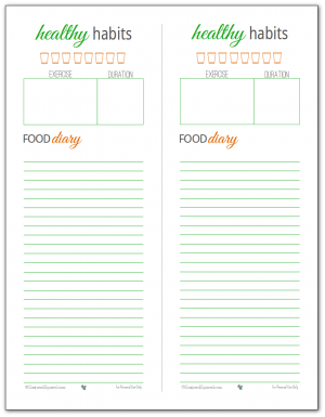 Healthy Habits Printable -track your water intake, log your exercise and monitor what you're eating each day.