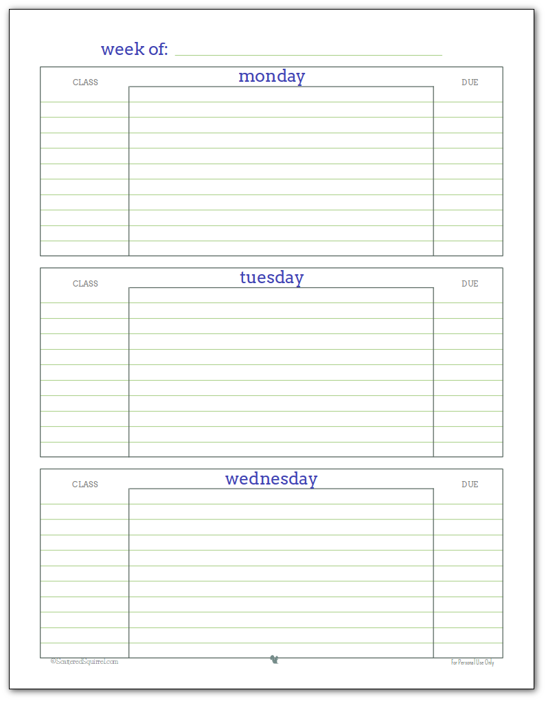 Weekly student planner printable - Page 1 Blue, Green and Grey colour scheme