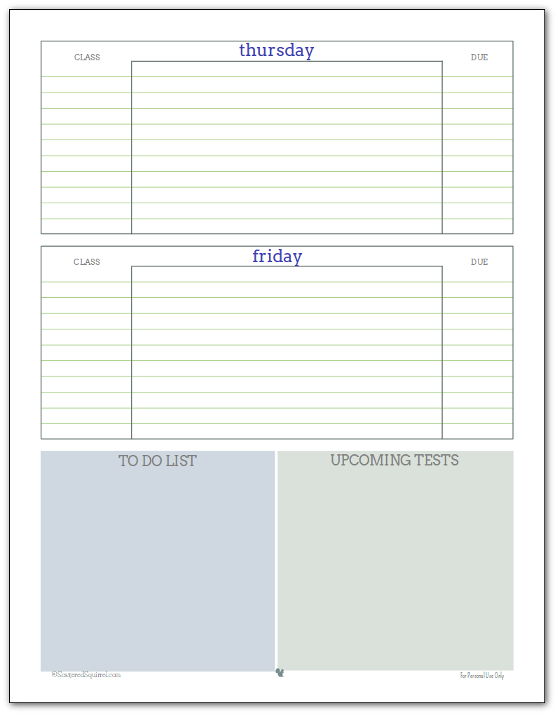 Weekly student planner printable - Page 2 Blue, Green and Grey colour scheme