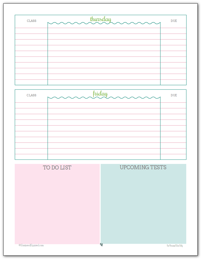 weekly student planner printable page 2 blue green and pink colour scheme