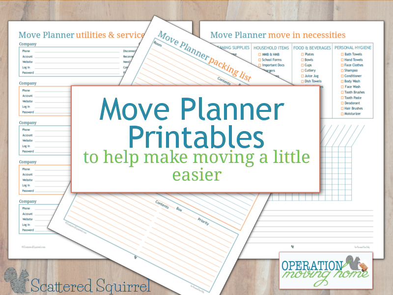 The move planner printables will help you keep track of your packing, your move-in necessities and what services and utilities you need to move, close or set up.