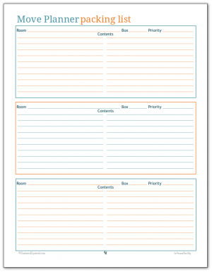 Use this packing list printable to help keep track of what you've packed, where you packed it and what priority level it is for unpacking.