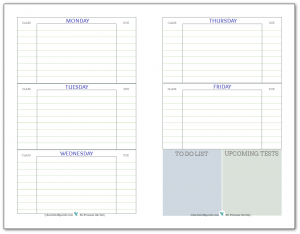 Weekly student planner printable, half-size. Recommended for middle and highschool students. In a blue, green and grey colour scheme.