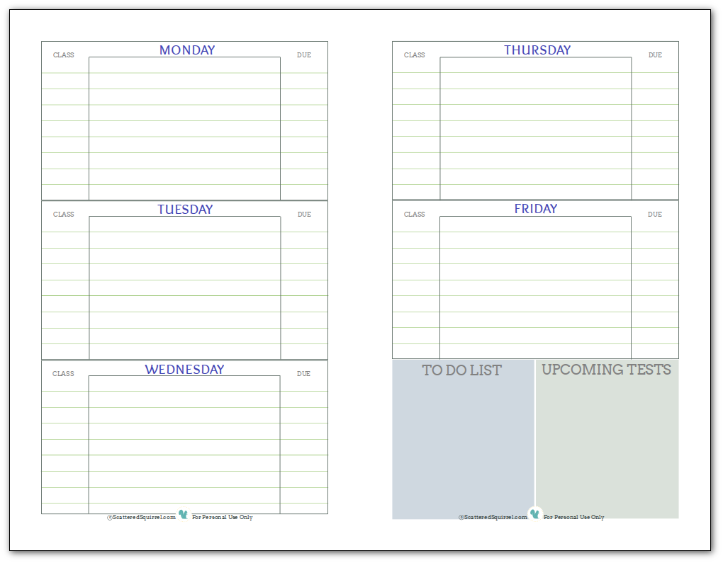 Comprehensive image throughout printable weekly planner for students