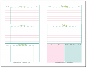 Weekly student planner printable, half-size. Recommended for middle and highschool students. In a blue, green and pink colour scheme.