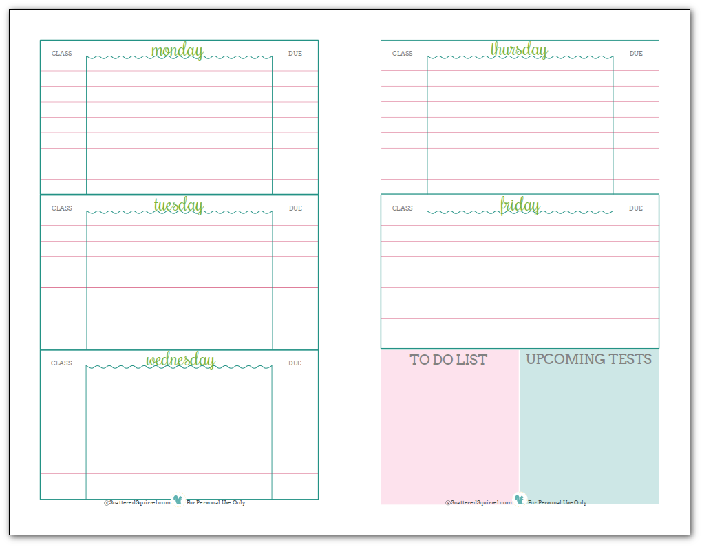 Weekly Student Planner Printable, Half Size. Recommended For Middle And  Highschool Students.