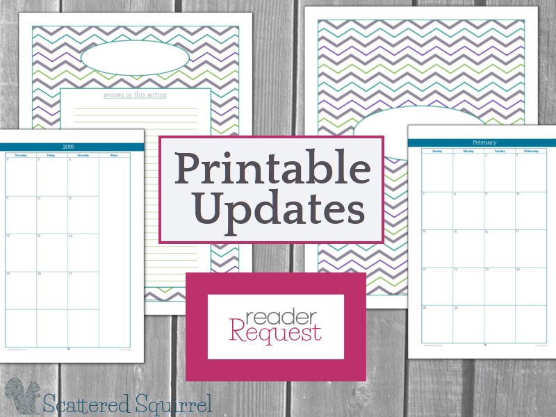 A couple updated printables that you've requested.