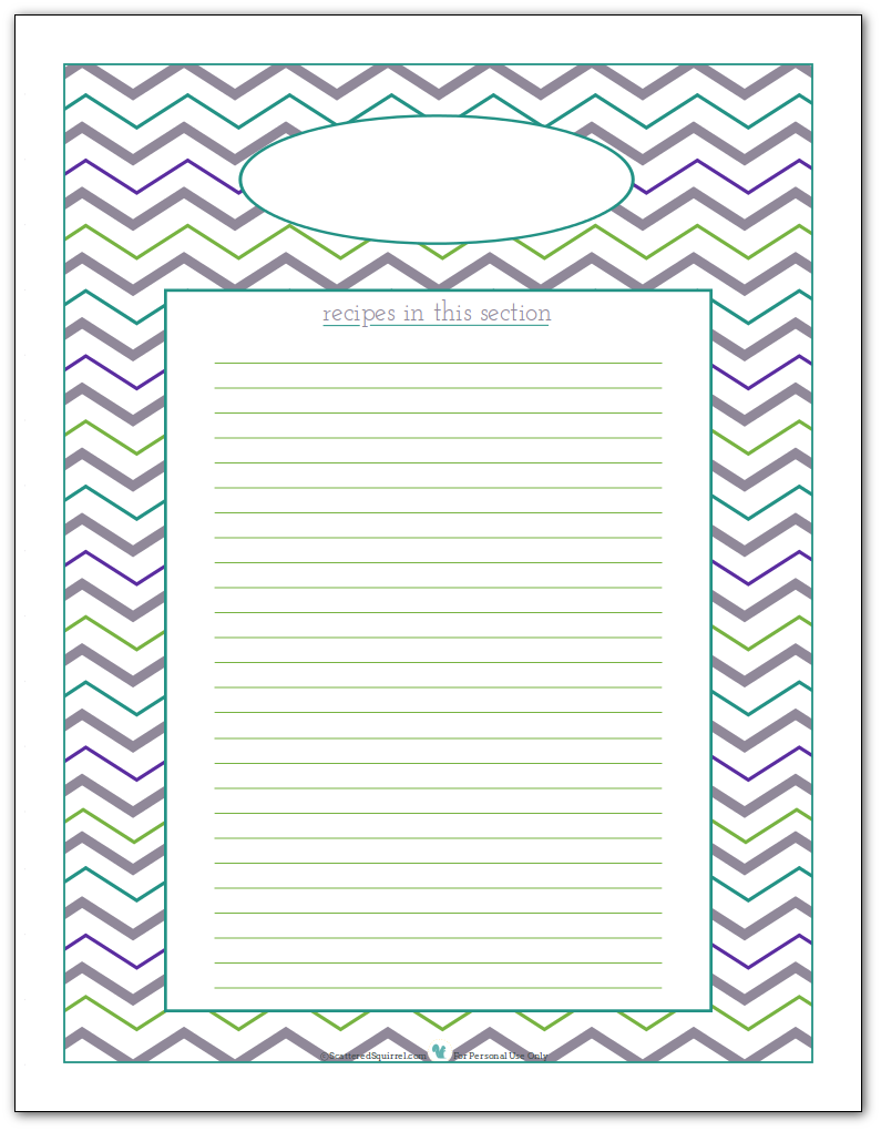 Blank recipe divider printable to help you keep track of the recipes you have in each section.