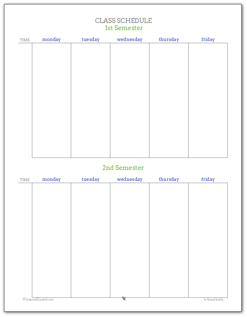 Class Schedule Printable - Grey, Blue and Green