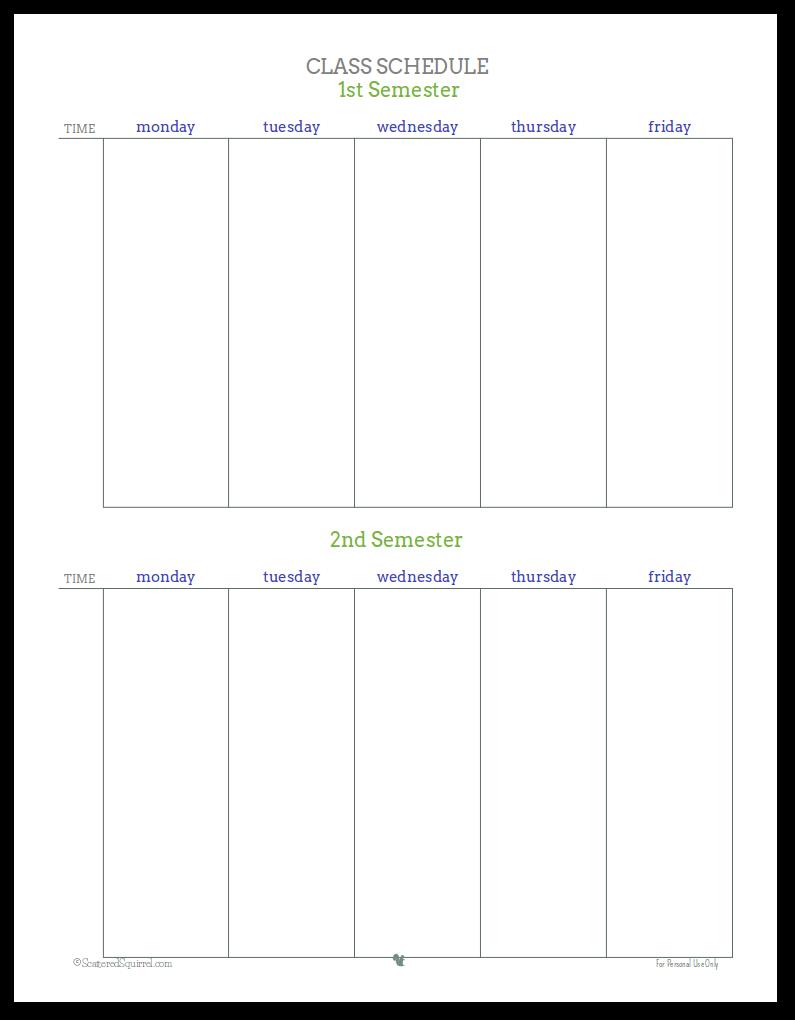 28+ [ Class Schedule Planner Template ] | 10 Weekly Class Schedule ...