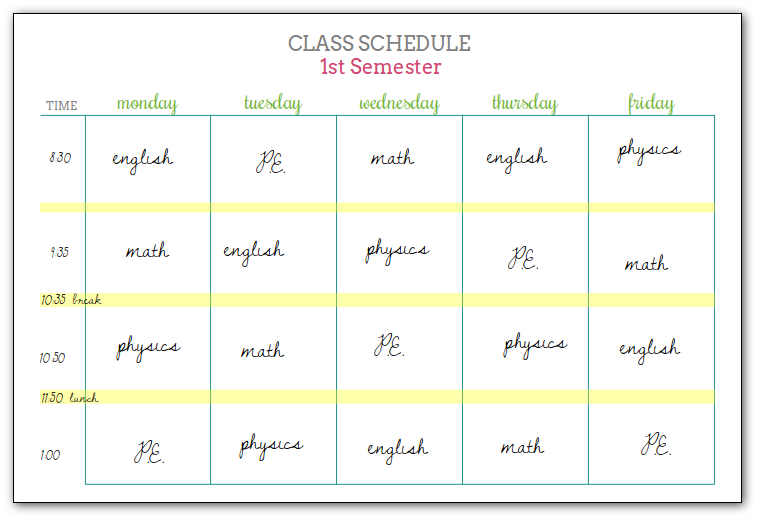 Student Planners Class Schedules and Reference Sheets – Class Schedule Template Sample