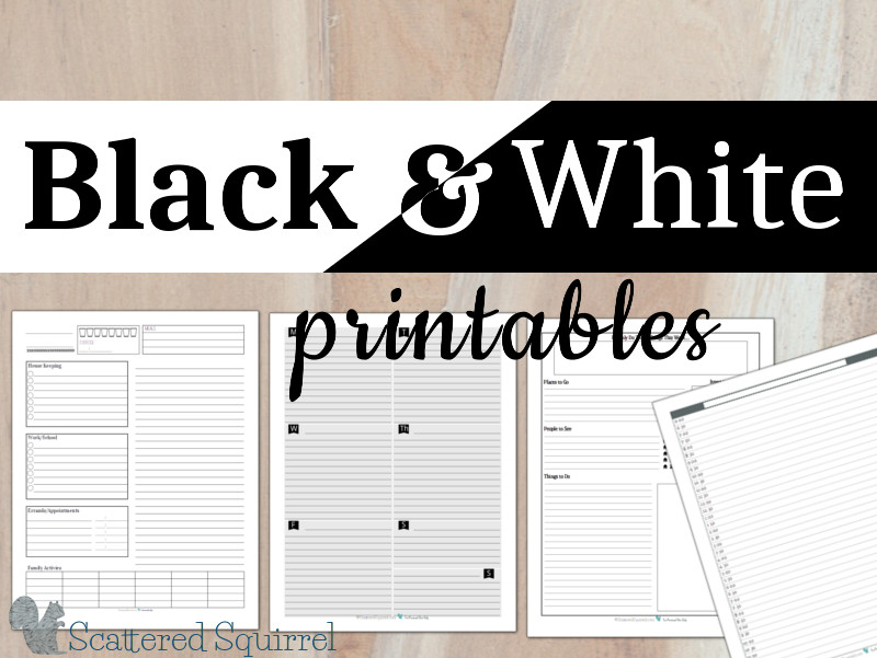 Black and White printables are perfect for those looking to save on ink or keep things really simple. Colour pens and highlighters really pop on these ones.