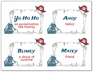Free printable flash cards with various pirate terms like Yo Ho Ho and Ahoy, along with their definitions.
