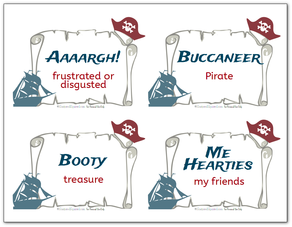 Free printable flash cards with various pirate terms like Aaaargh and Buccaneer, along with their definitions.