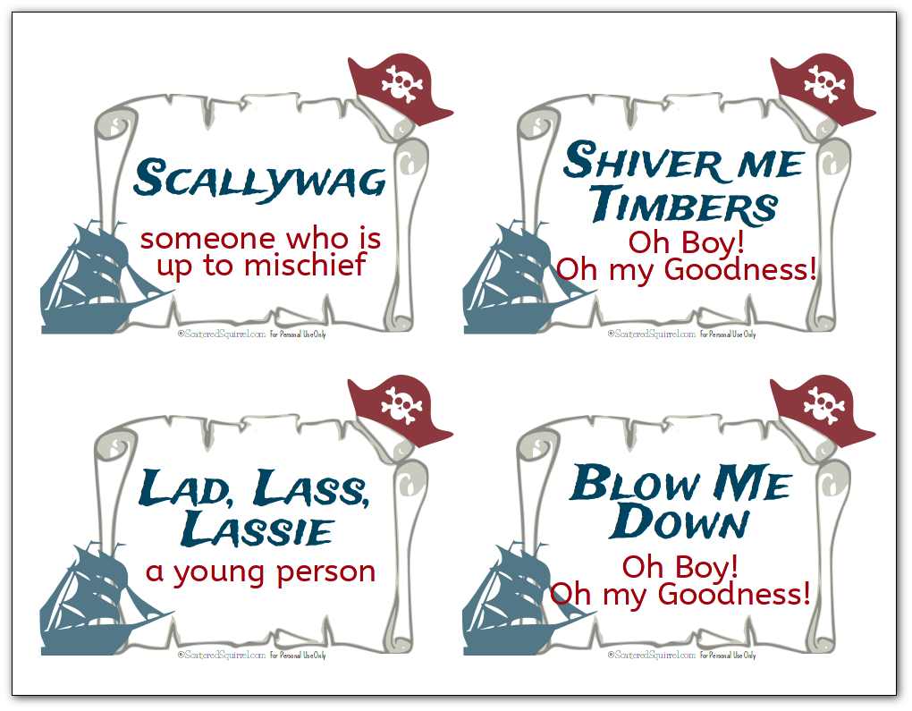 Free printable flash cards with various pirate terms and sayings like like scallywag and Shiver me Timbers, along with their definitions.